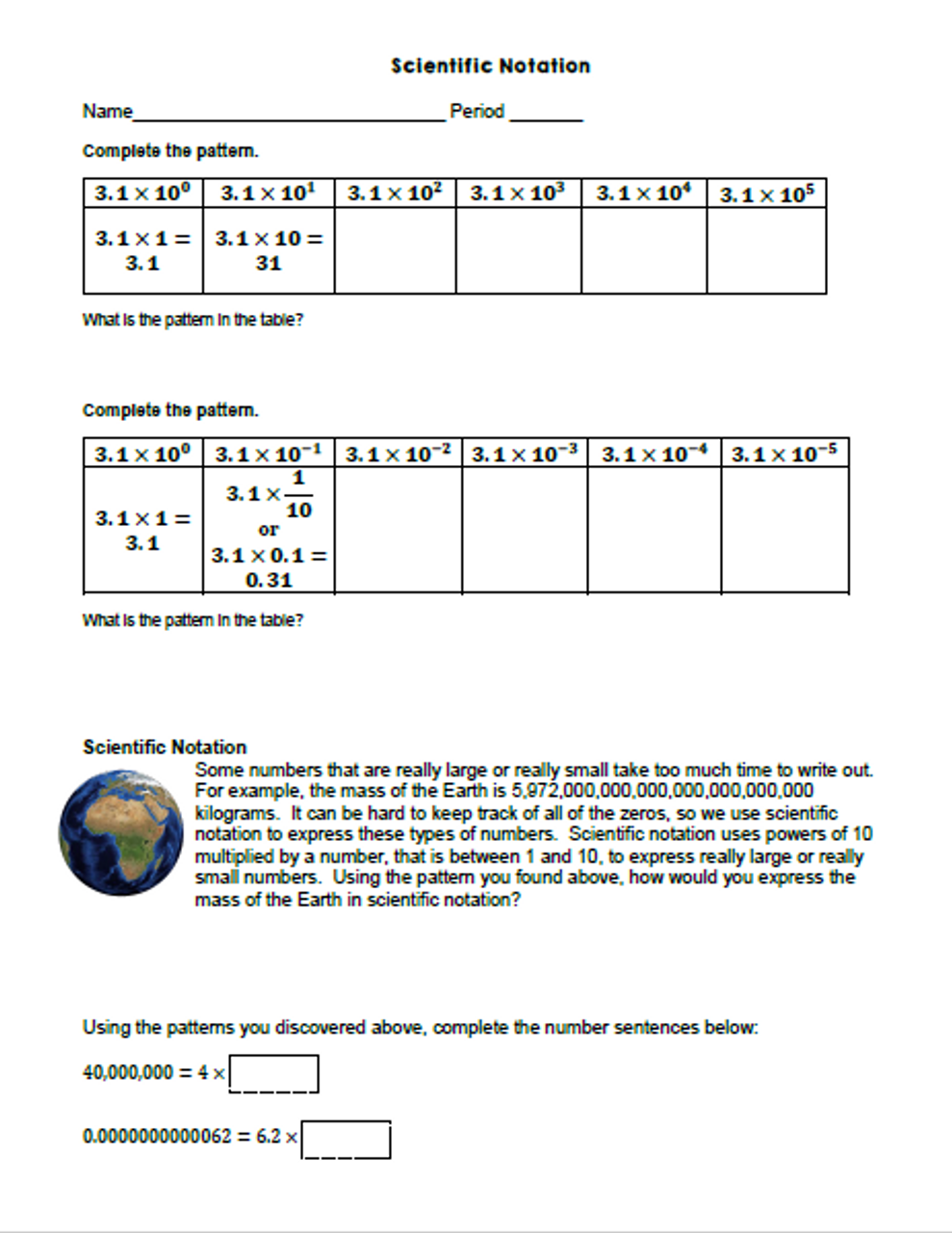 Scientific Notation Patterns Task