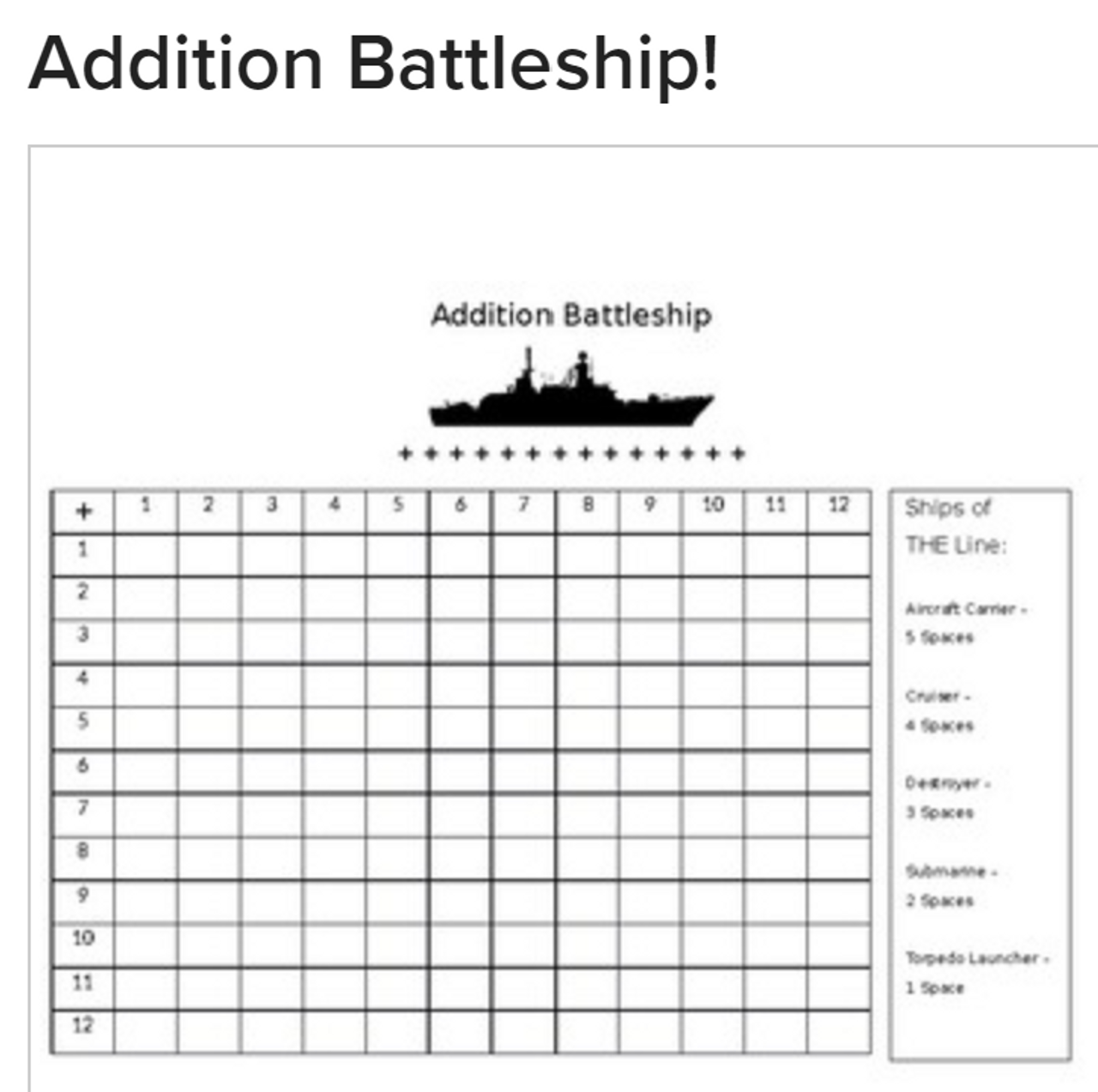 Addition Battleship