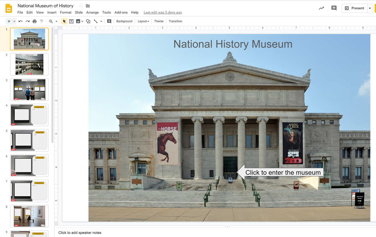 Google Slide Museum Template (Make Your Own Copy to Edit)