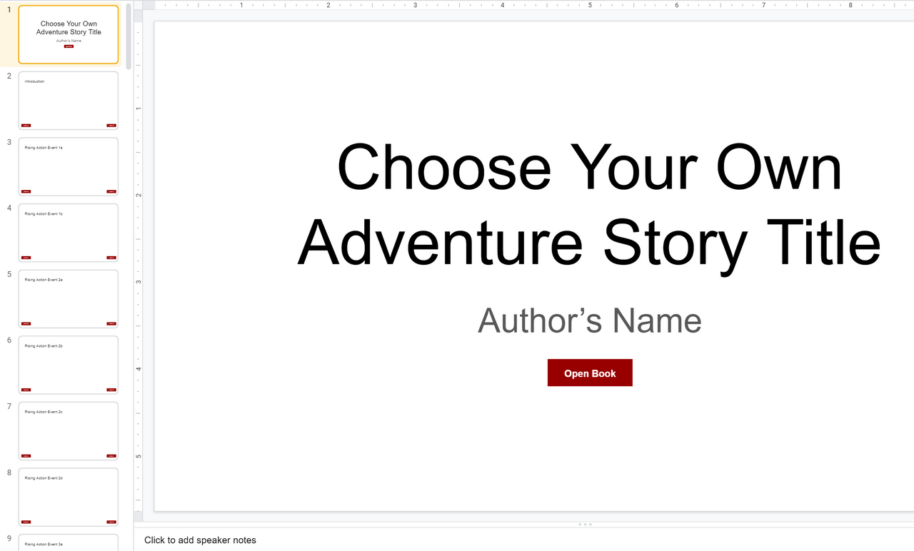 Google Slides Choose Your Own Adventure Story Template (Make a copy to edit)