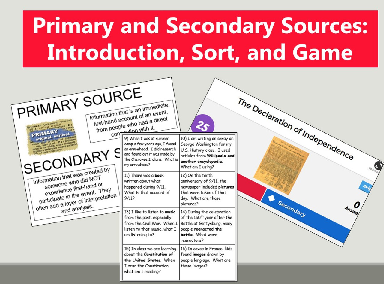 Primary and Secondary Sources: Introduction, Sort, and Game