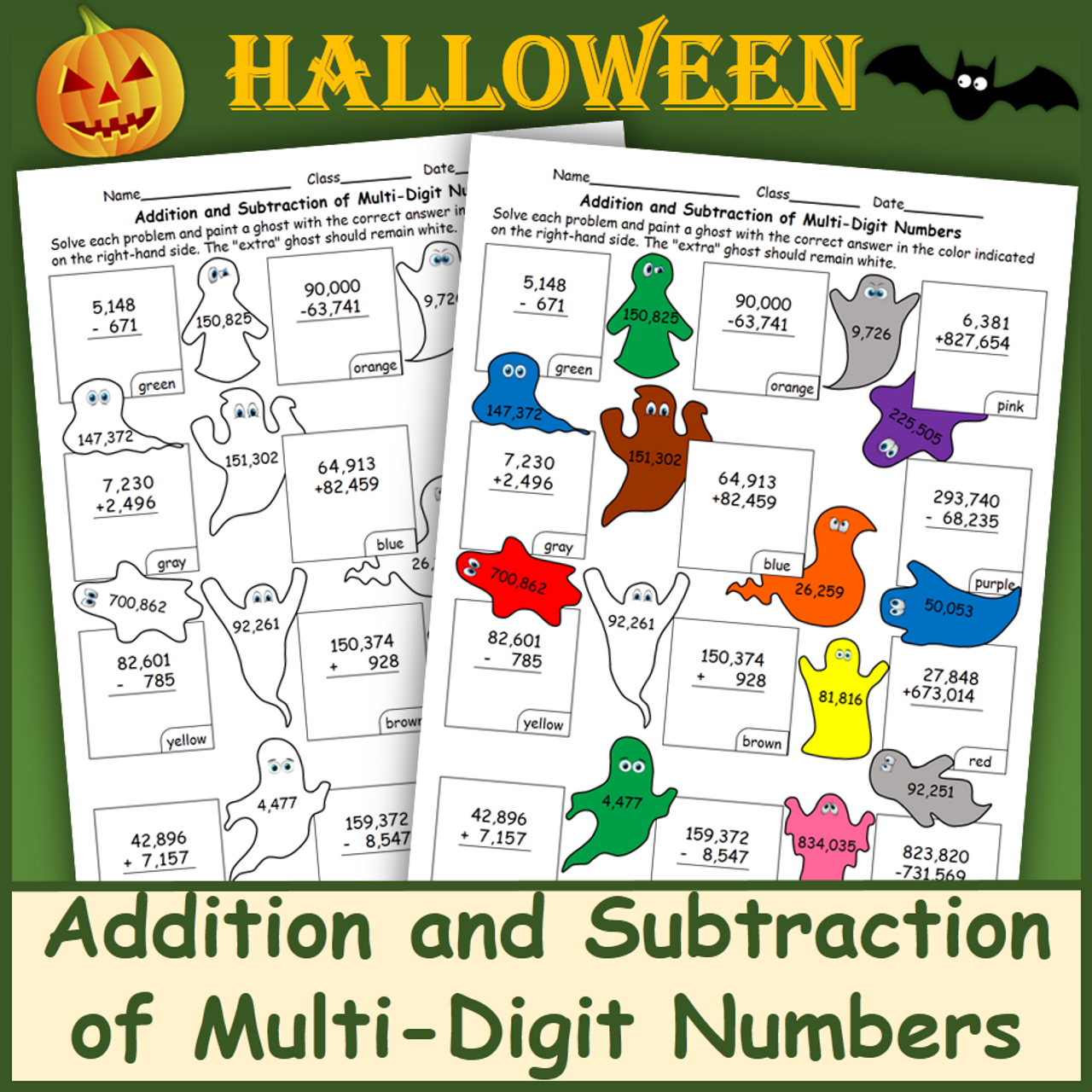Addition and Subtraction of Multi-Digit Numbers Halloween