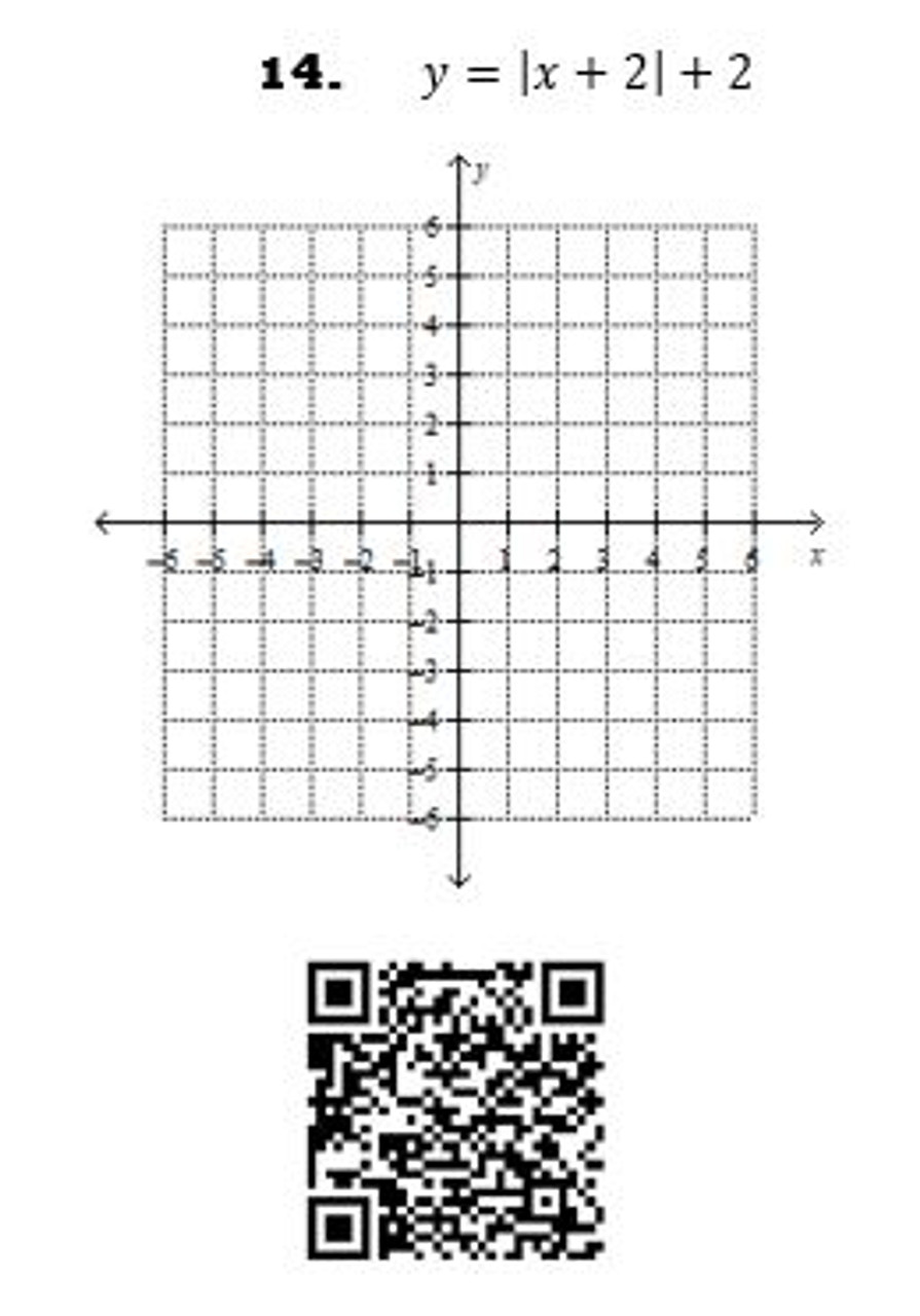 Graphing Absolute Value Functions: QR Code Activity - 16 Problems