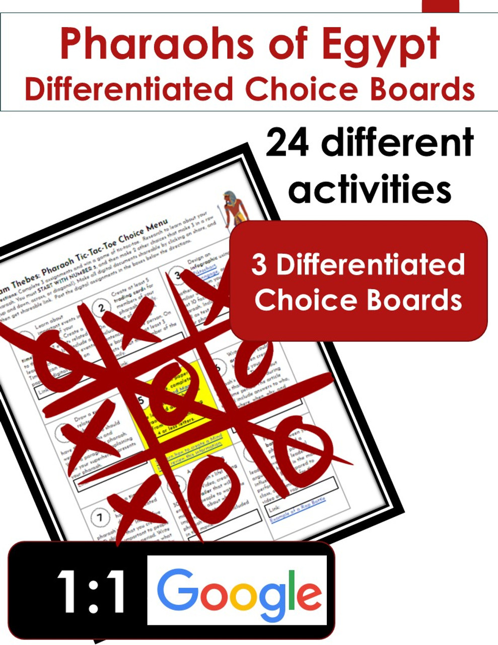Pharaohs of Egypt Differentiated Choice Board Learning Menus (set of 3)