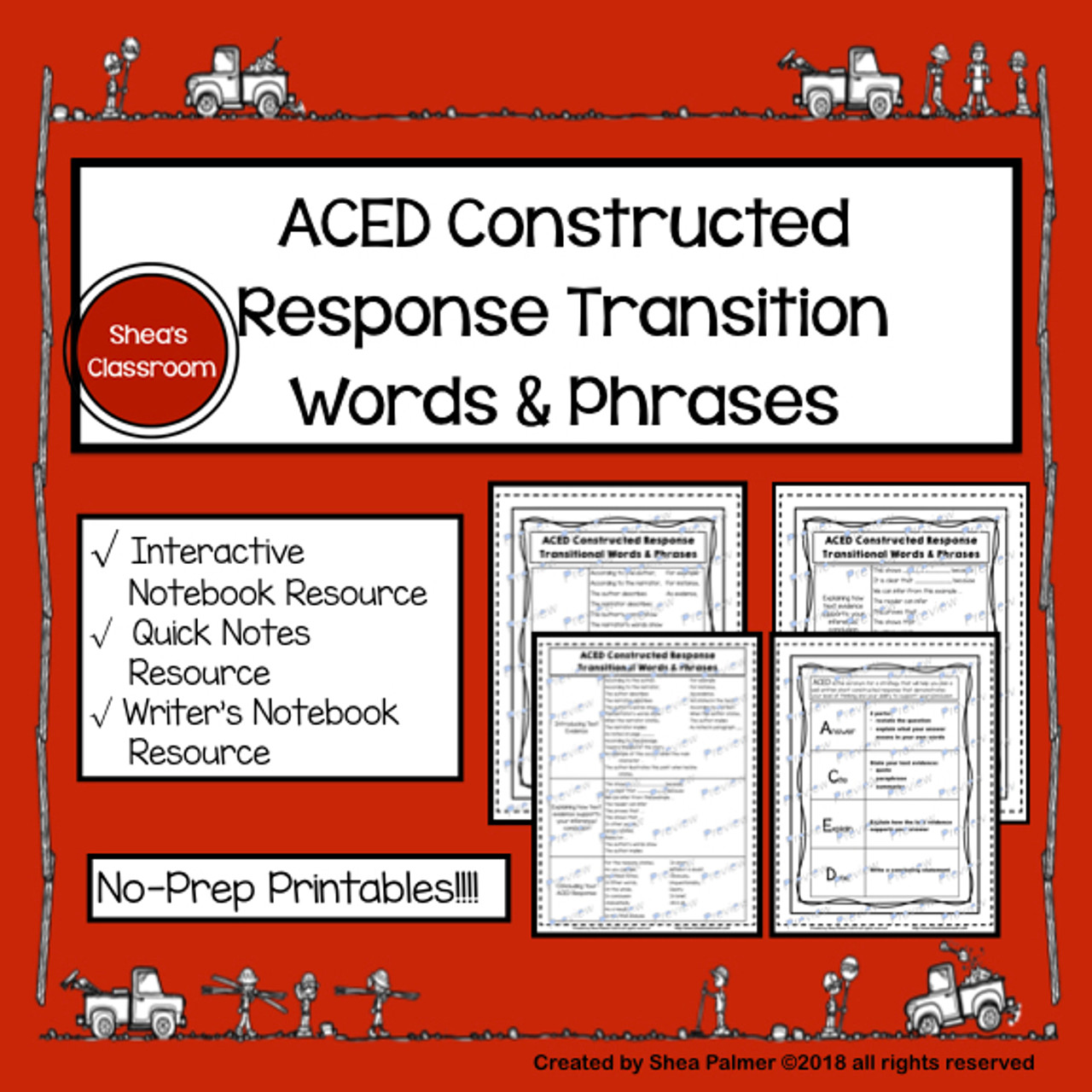 Short Constructed Response ACED Acronym Guided Notes Resource Pages