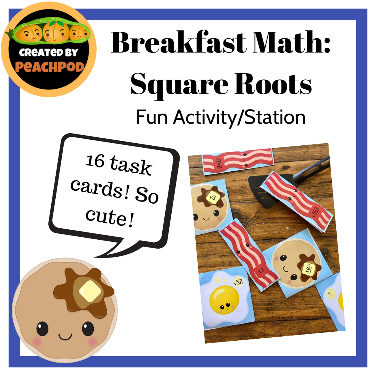 Breakfast Math:  Square Roots - Fun Activity/Station