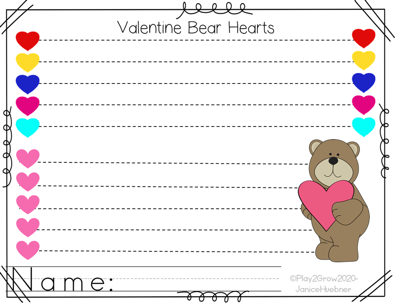 Valentines Pre-writing Lines and Shapes