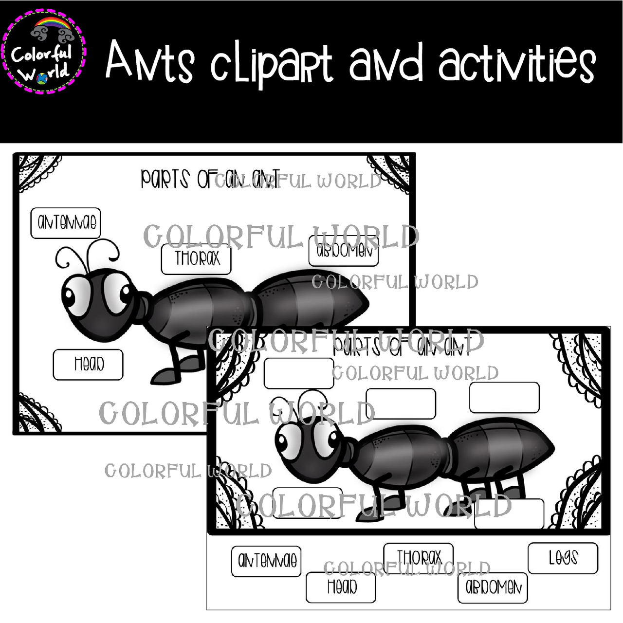 Ants clipart and activities