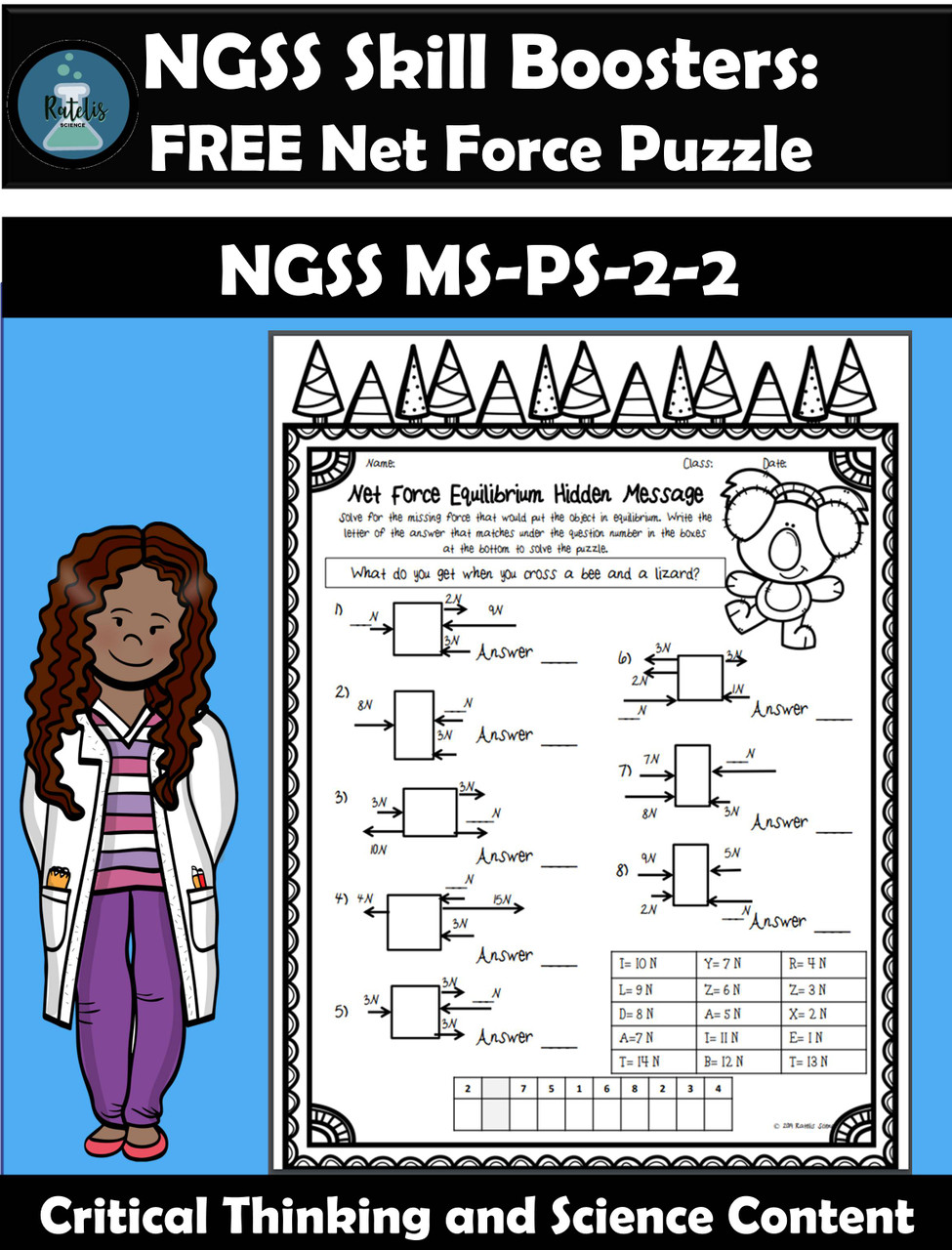 Net Force Puzzle (FREE SAMPLE) NGSS MS-PS-2-2