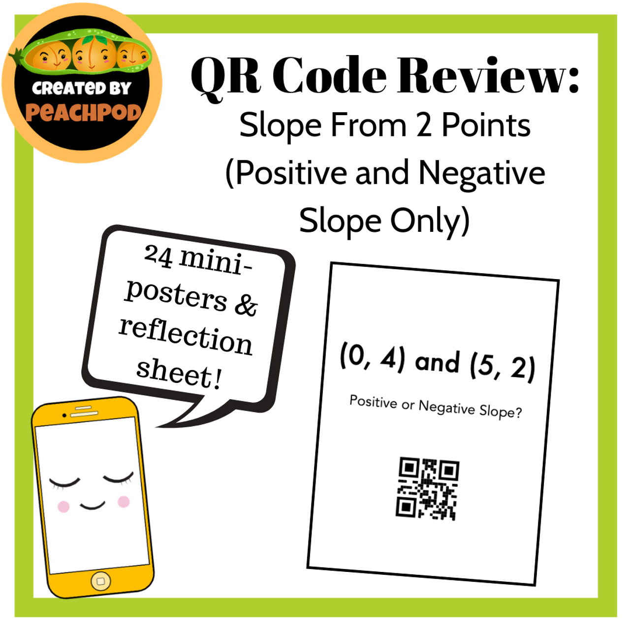 QR Code Review: Slope From 2 Points (Positive & Negative Slope Only)