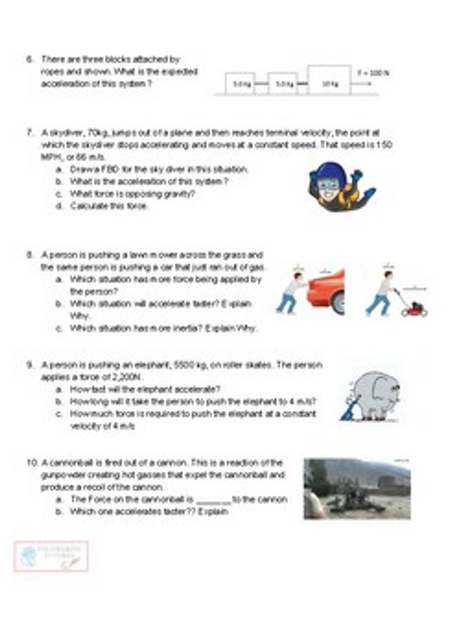 Newton's 2nd Law of Motion Worksheets: No Friction