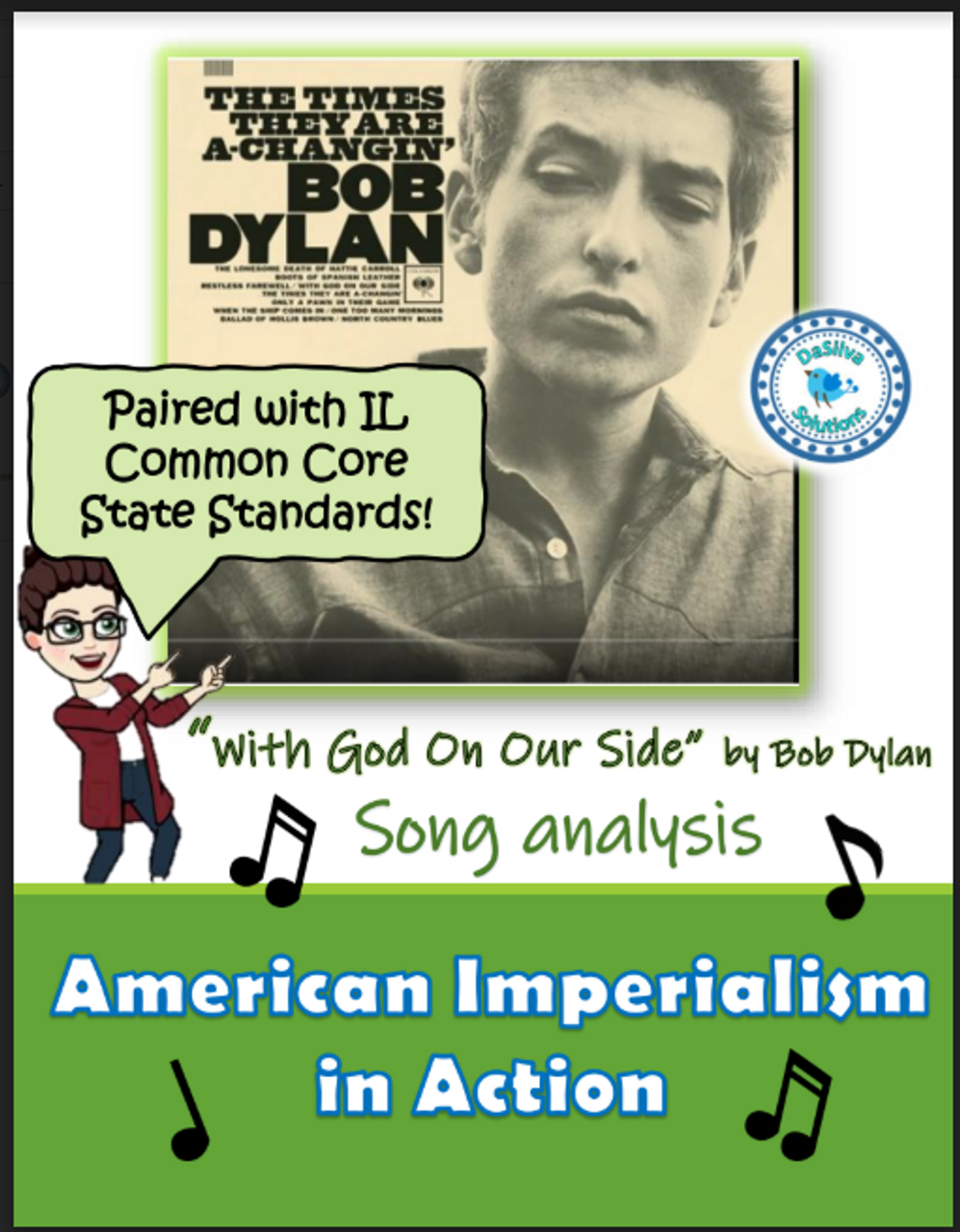 """American Imperialism - """"With God on Our Side"""" Bob Dylan Song Analysis Activity"""