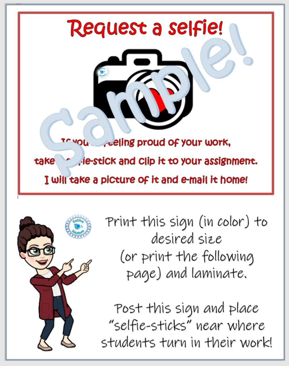 """Request a selfie"" student work positive reinforcement tool"