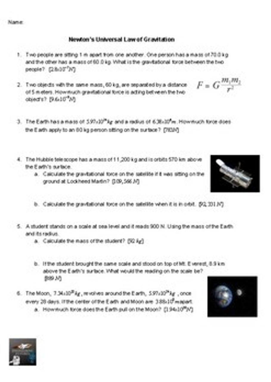 Newton's Universal Law of Gravitation Worksheet