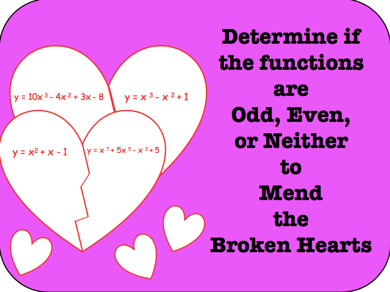 Determine if the functions are Odd, Even, or Neither to Mend Broken Hearts