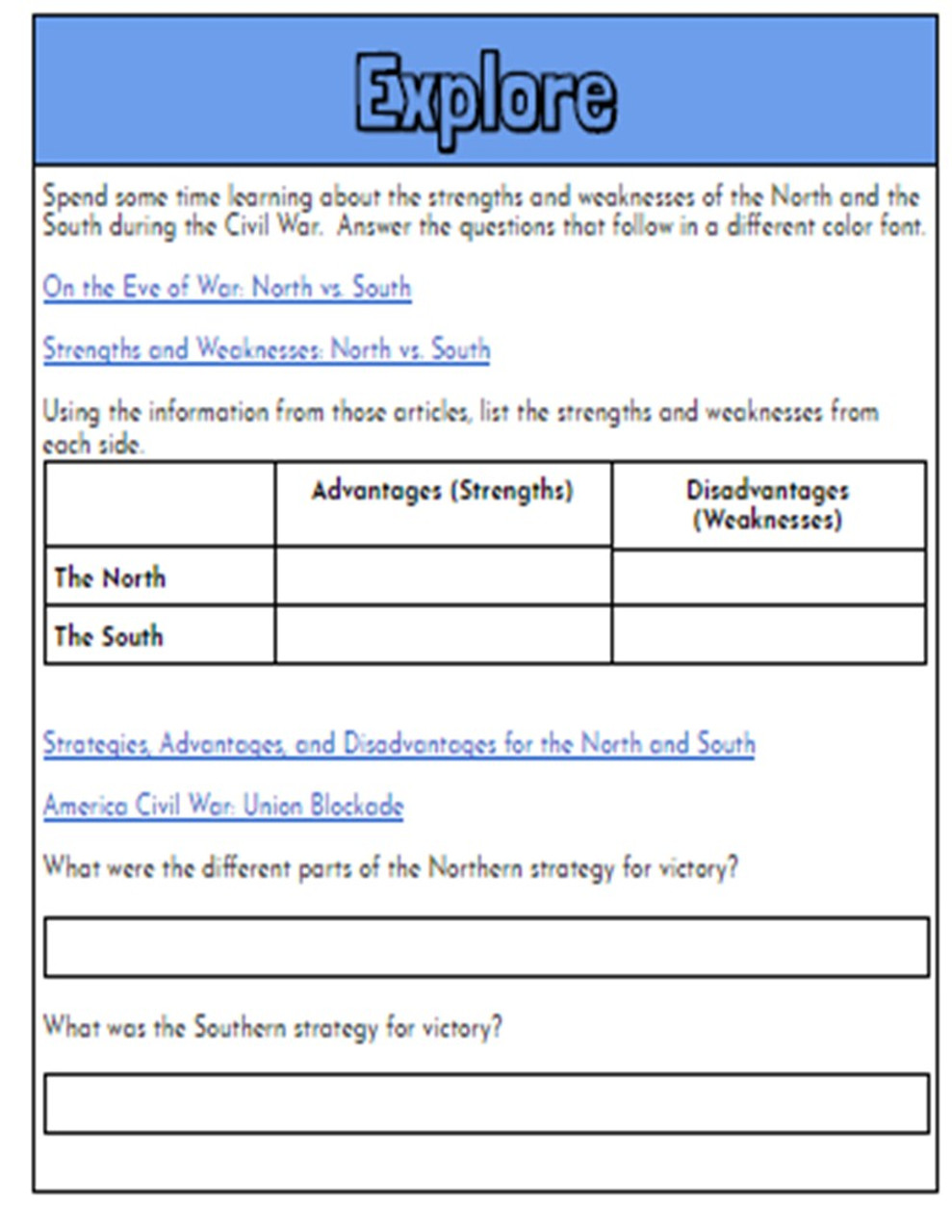 Civil War Hyperdoc: North vs. South Strengths and Weaknesses Webquest