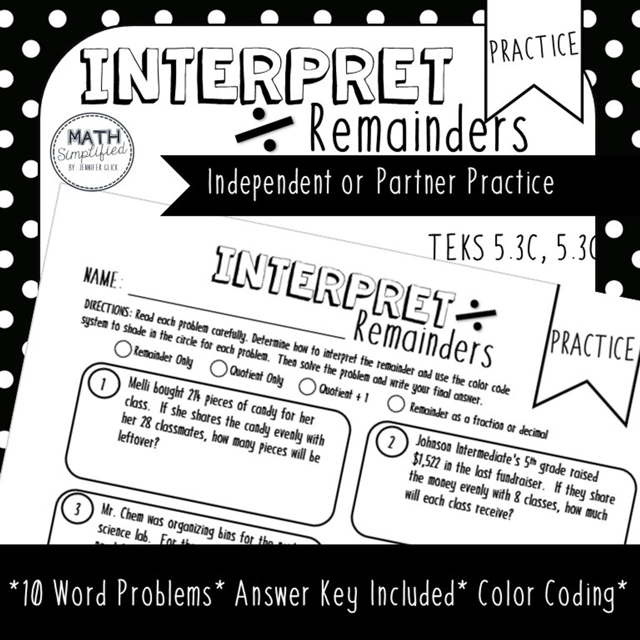Interpreting Remainders: Division Practice