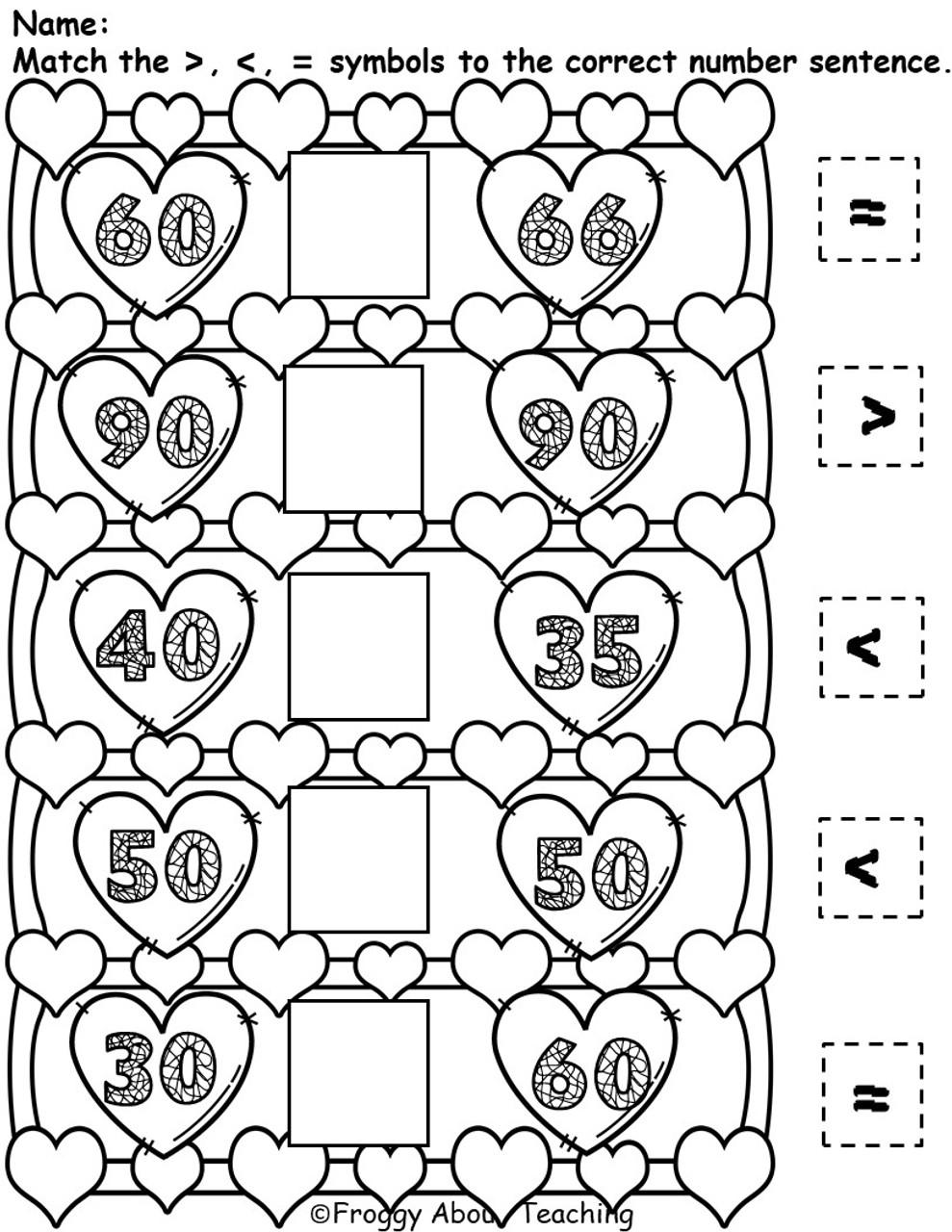 1st g. Valentine's Tens Math Packet