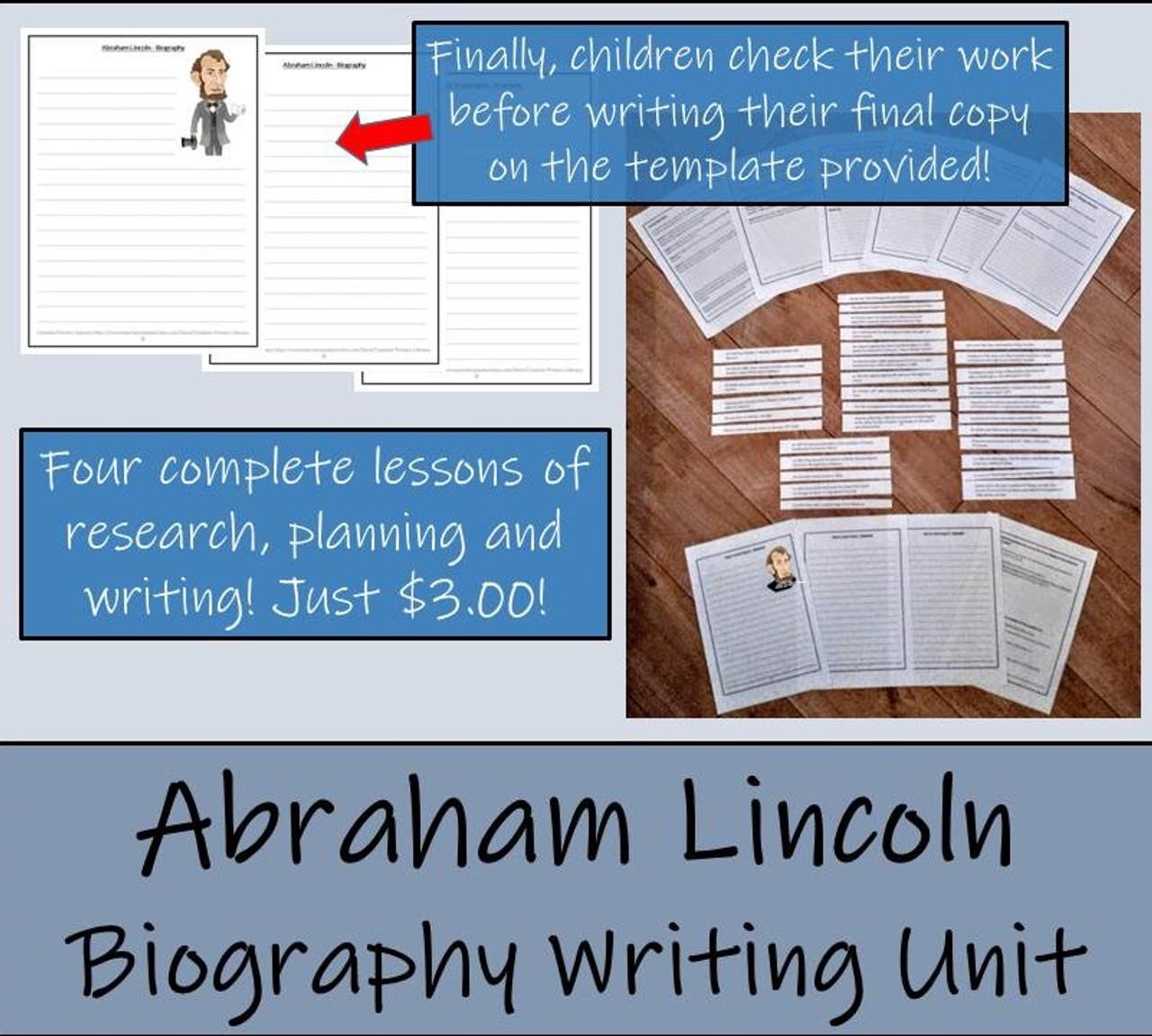 Abraham Lincoln - 5th & 6th Grade Biography Writing Activity