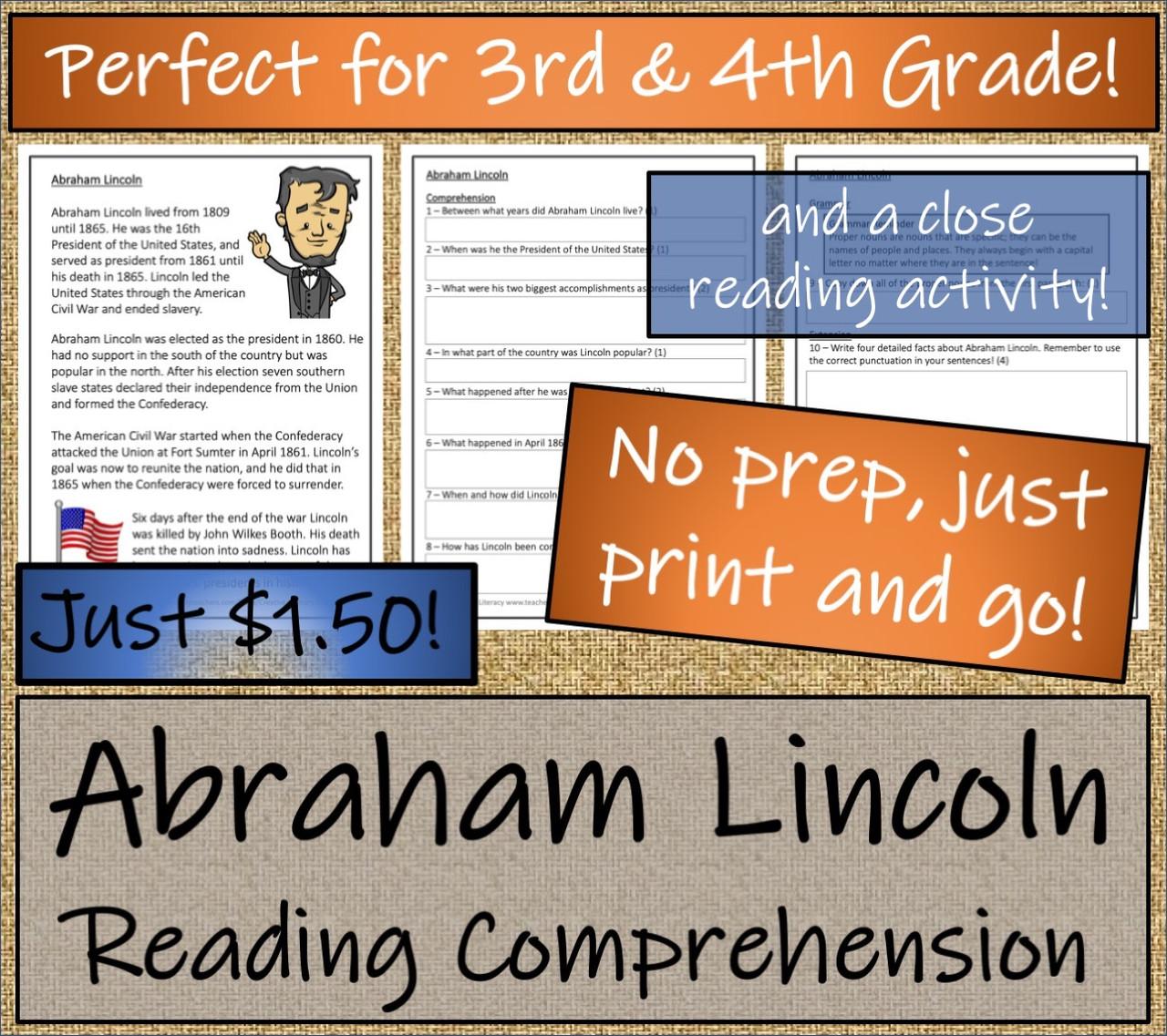 Abraham Lincoln  - 3rd & 4th Grade Close Read & Biography Writing Bundle