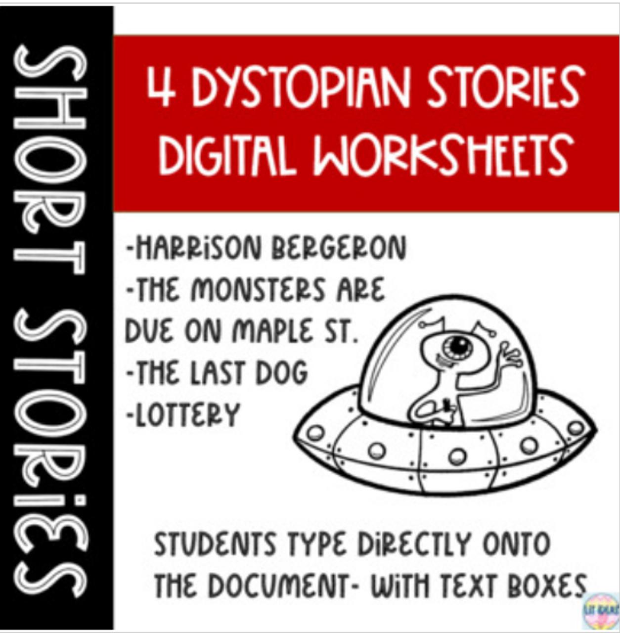 Dystopian Short Stories DIGITAL worksheets and Hard Copies