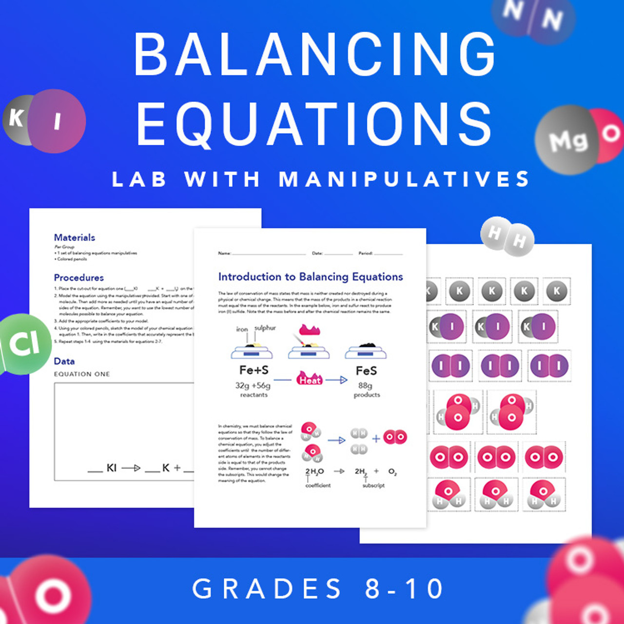 Introduction to Balancing Chemical Equations Lab with Manipulatives