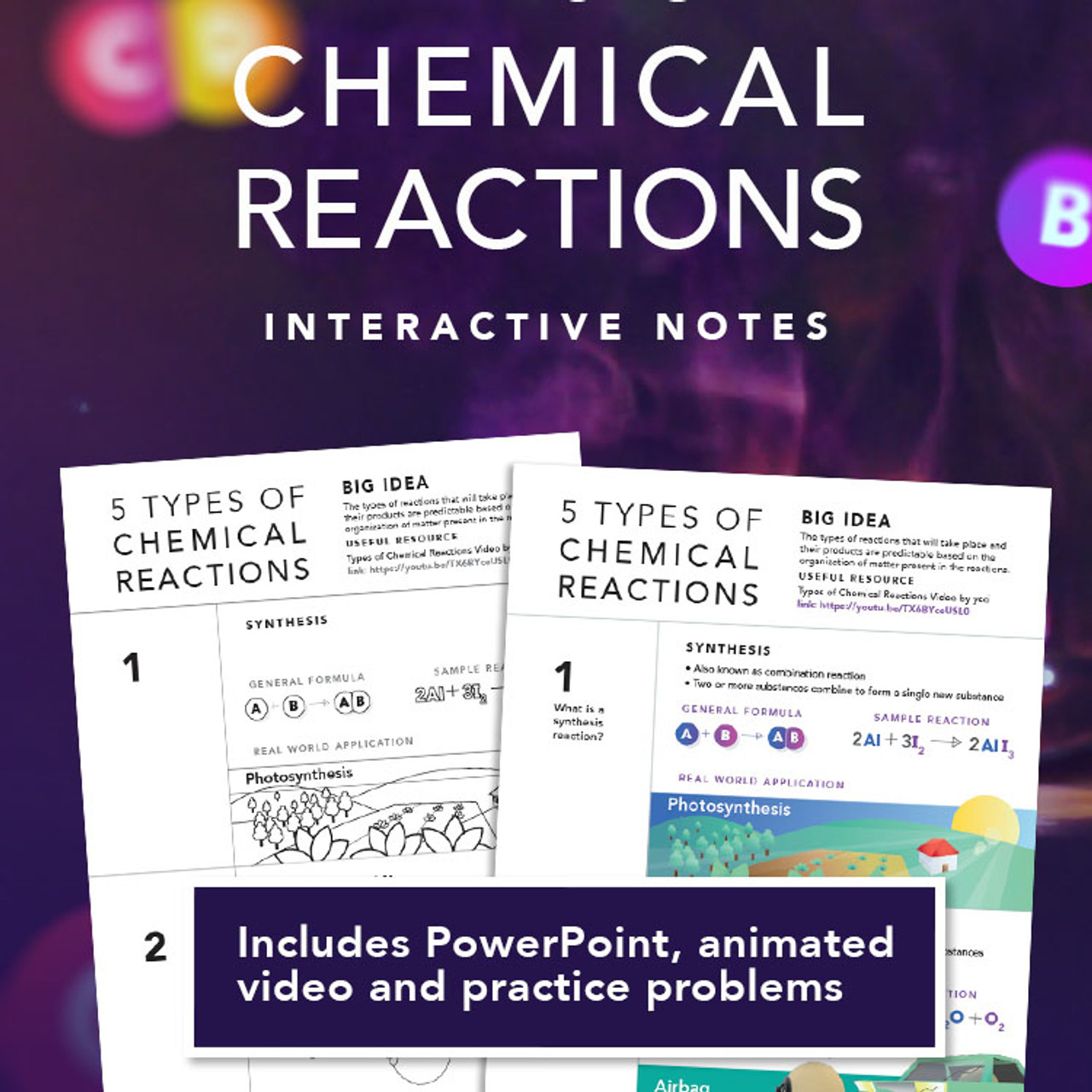 Types of Chemical Reactions Interactive Notes with PowerPoint