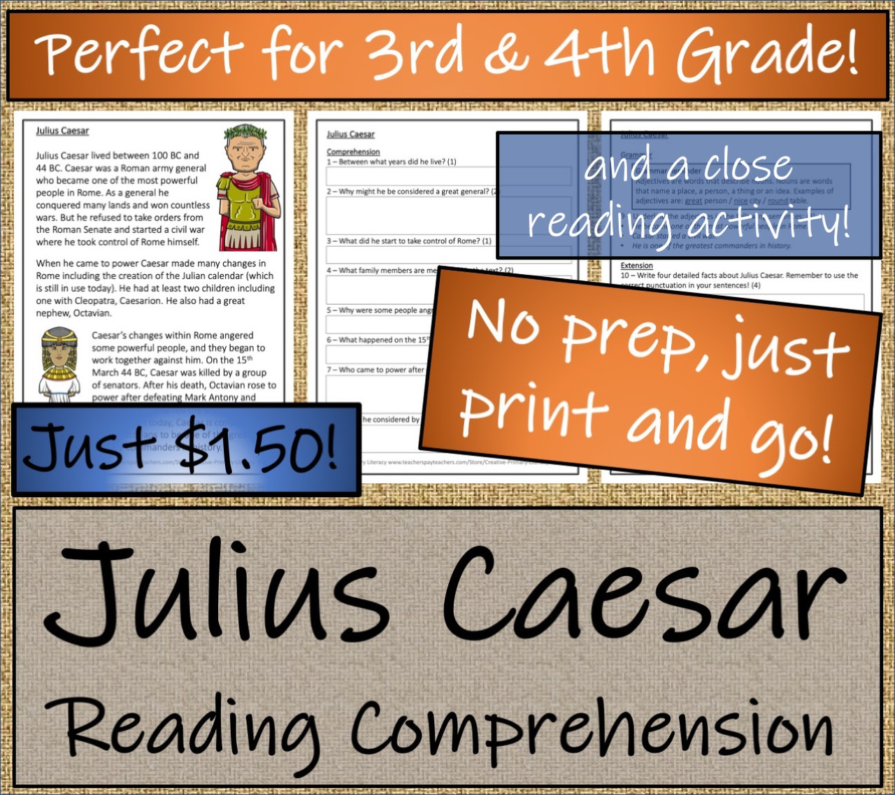 Julius Caesar - 3rd & 4th Grade Close Read & Biography Writing Bundle