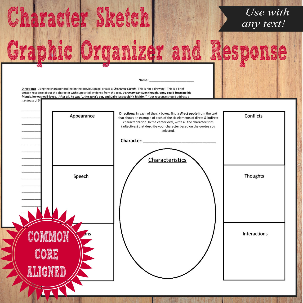 Character Sketch Graphic Organizer and Response