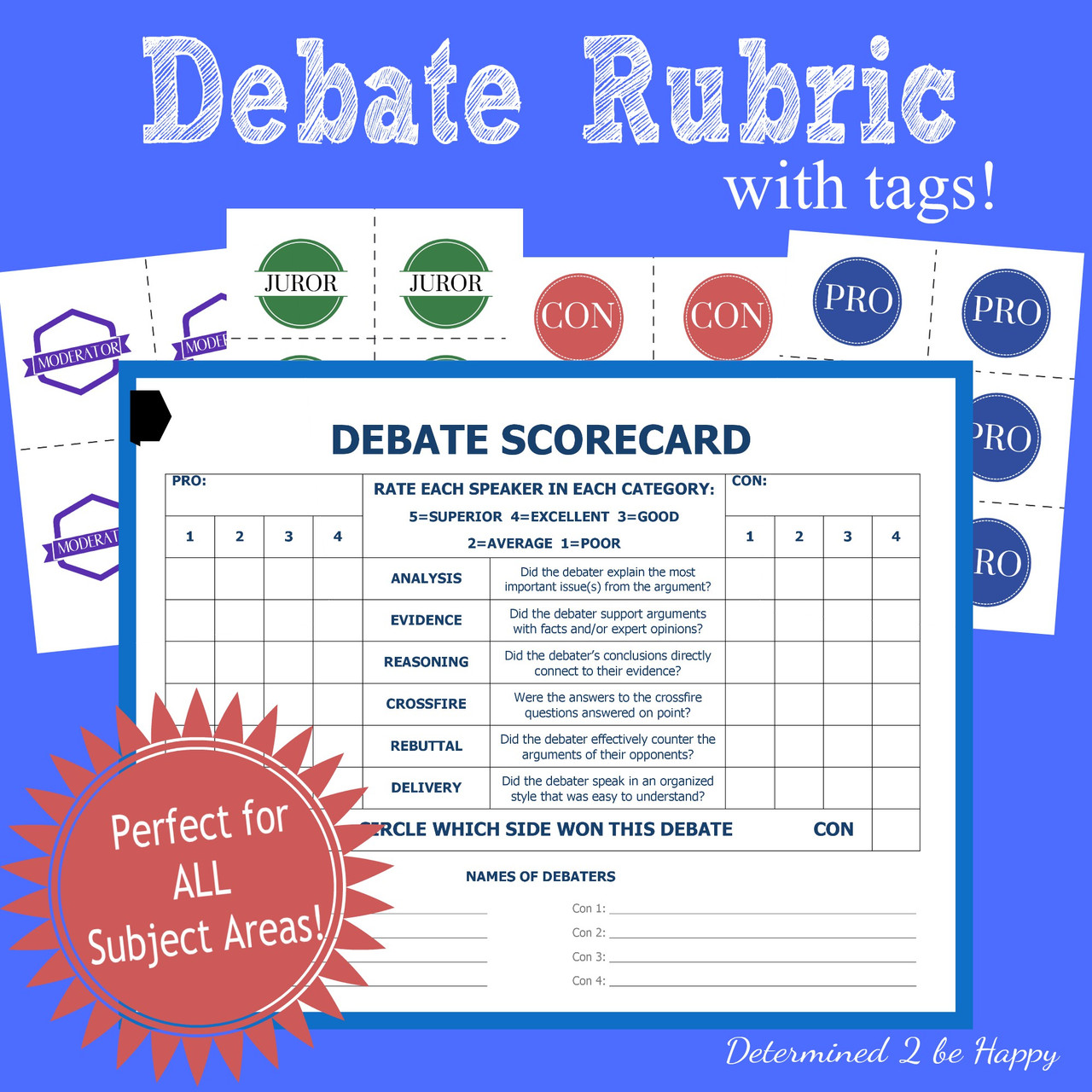 Debate Rubric with BONUS Tags and Reflection