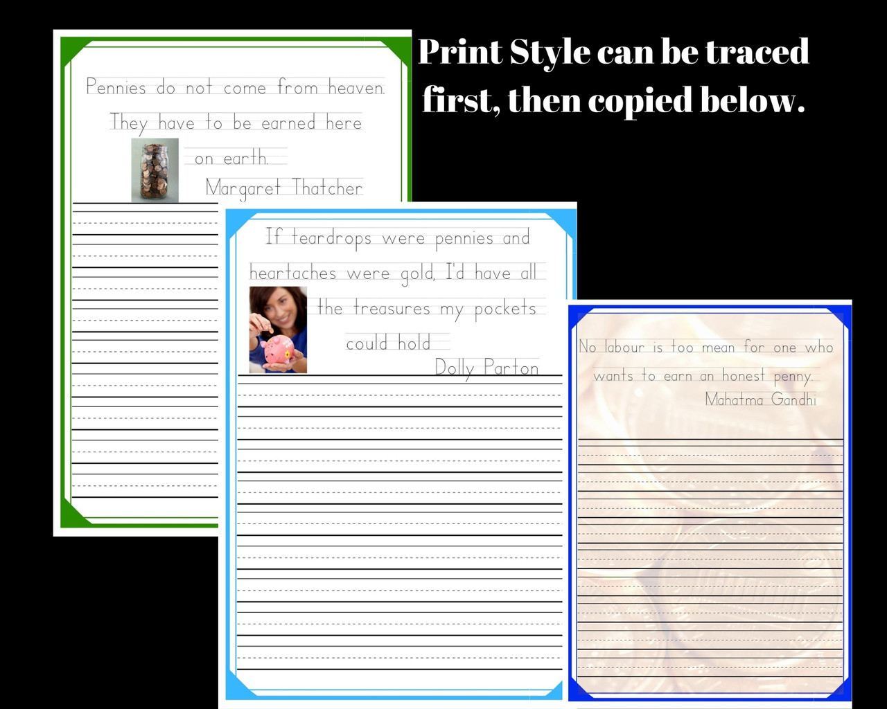 Copywork - Penny Themed Quotes and QR code research activity