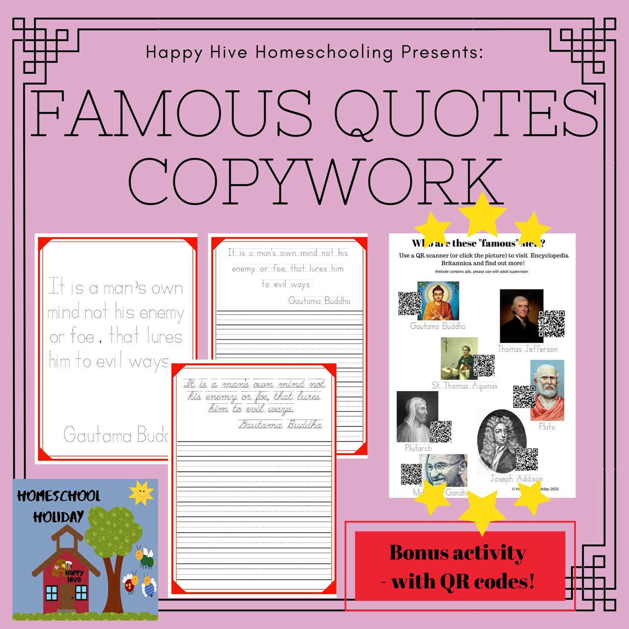 7 Famous Quotes Copywork Handwriting practice - Trace, Print and Cursive
