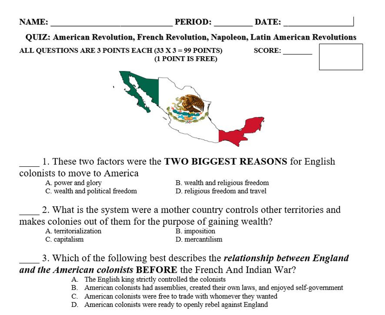 American, French and Latin American Revolutions Quiz