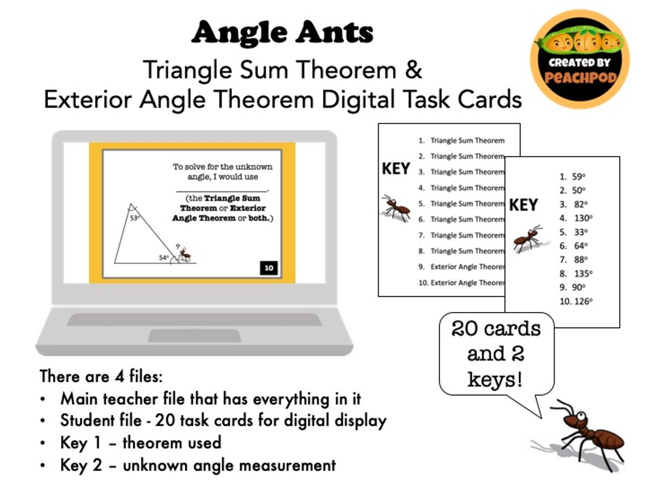 Angle Ants: Triangle Sum Theorem &  Exterior Angle Theorem Digital Task Cards