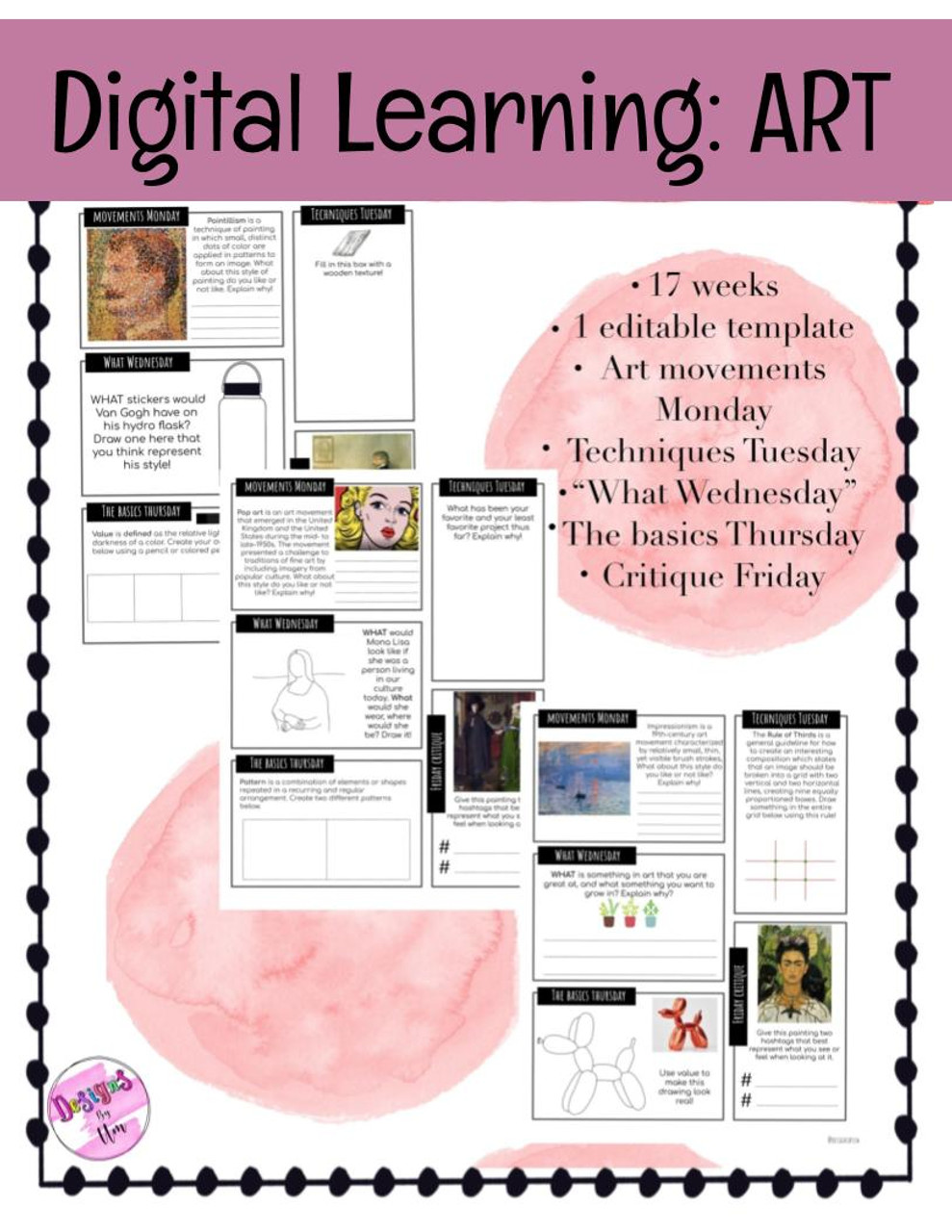"""Digital Learning: Art Packet"" covers 16 weeks worth of material"