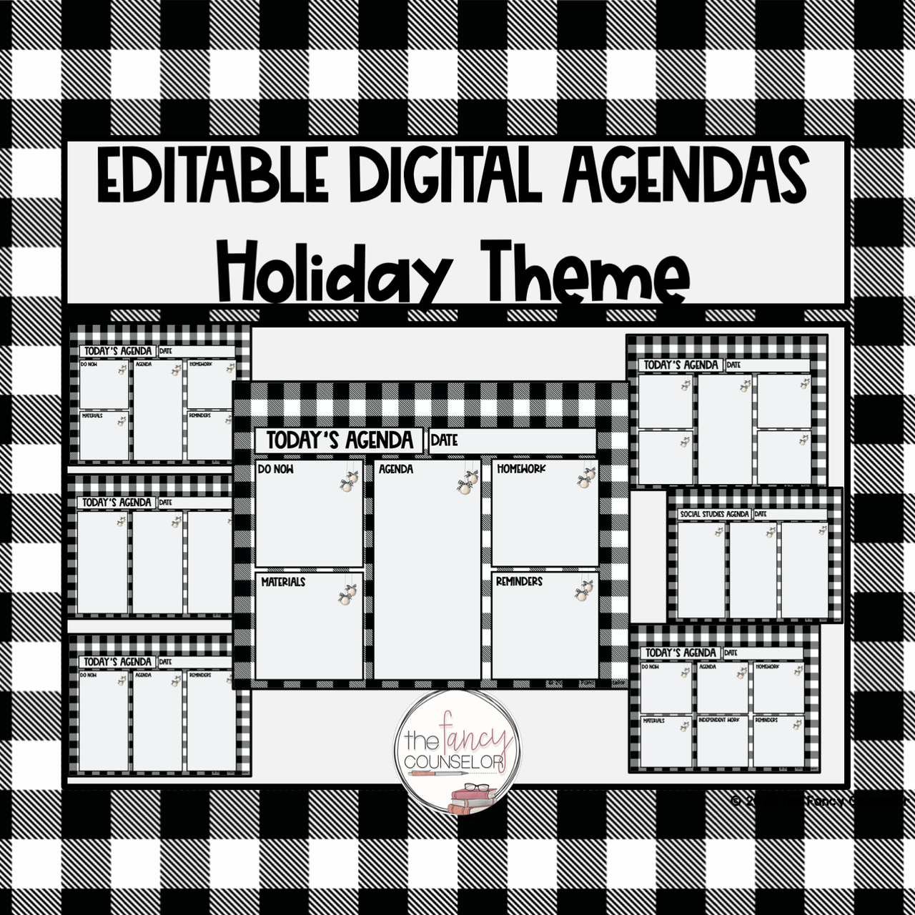 Editable Digital Daily Agendas Christmas Holiday Theme