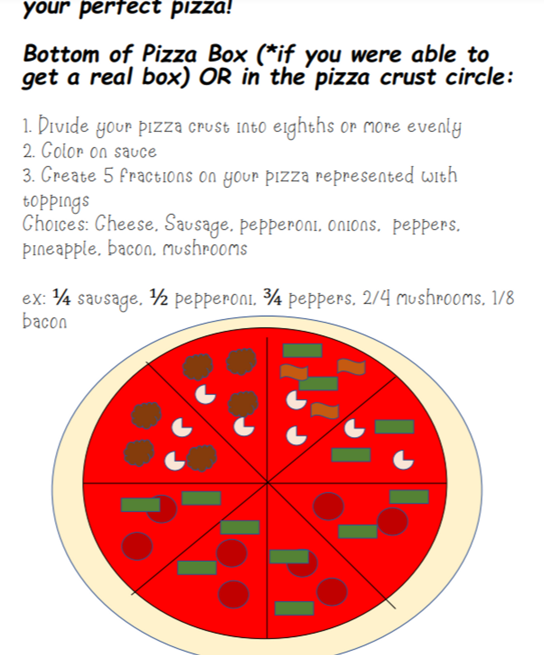 Fraction Pizza Project (Distance/In Class Learning)