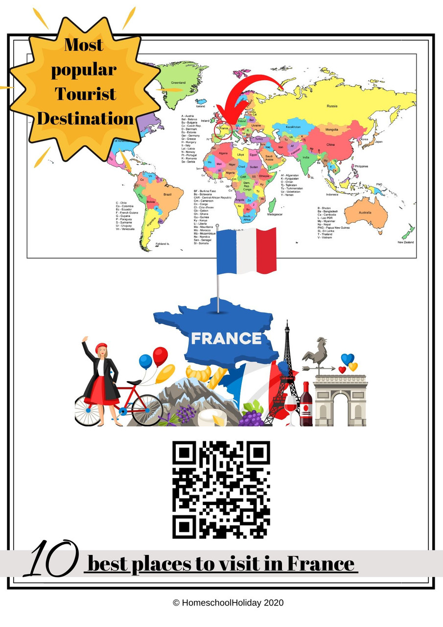 Each country has it's own page with clickable links or a QR code. The country is circled and pointed out on a world map for visual reference.