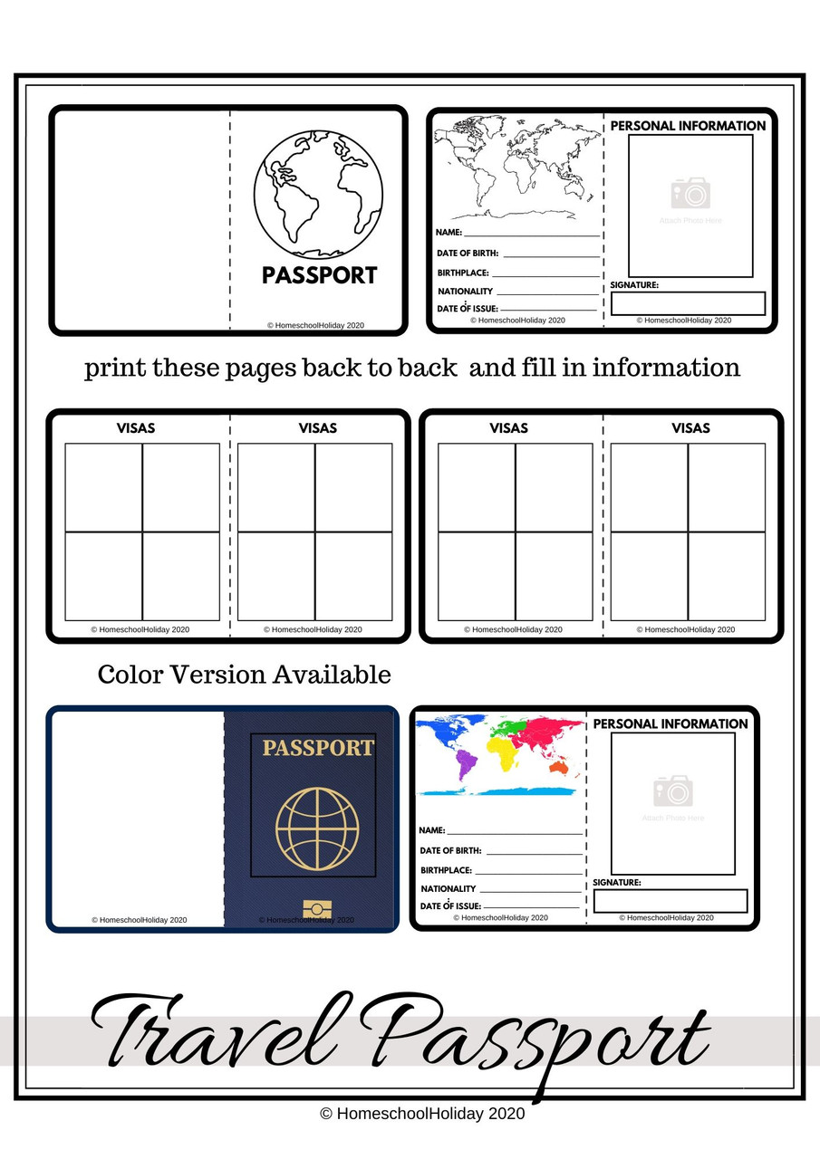 Learners can create a passport for their travels! Passport stamps (not pictured) make this activity extra fun!
