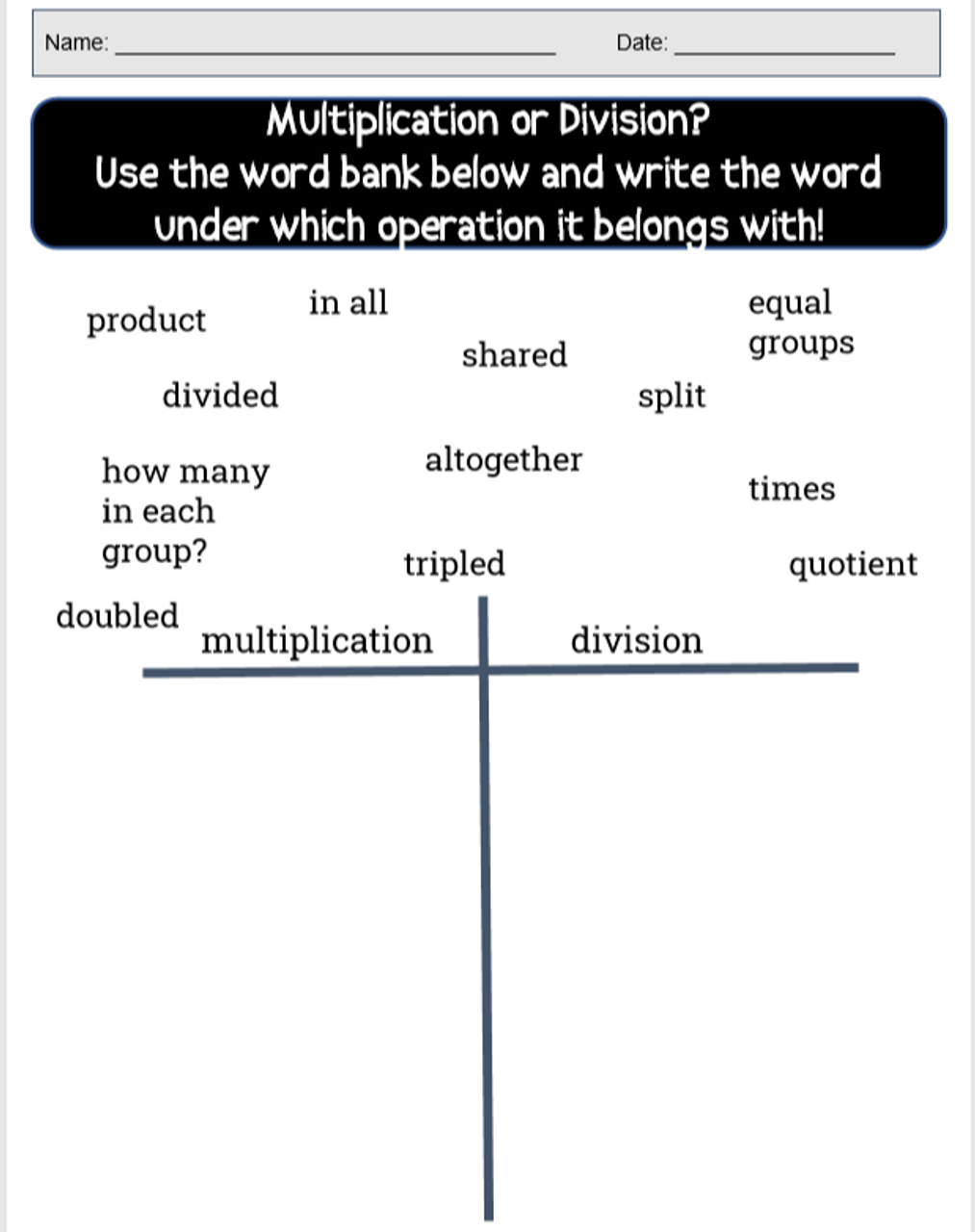 Strategies To Solving Word Problems (Multiplication and Division)