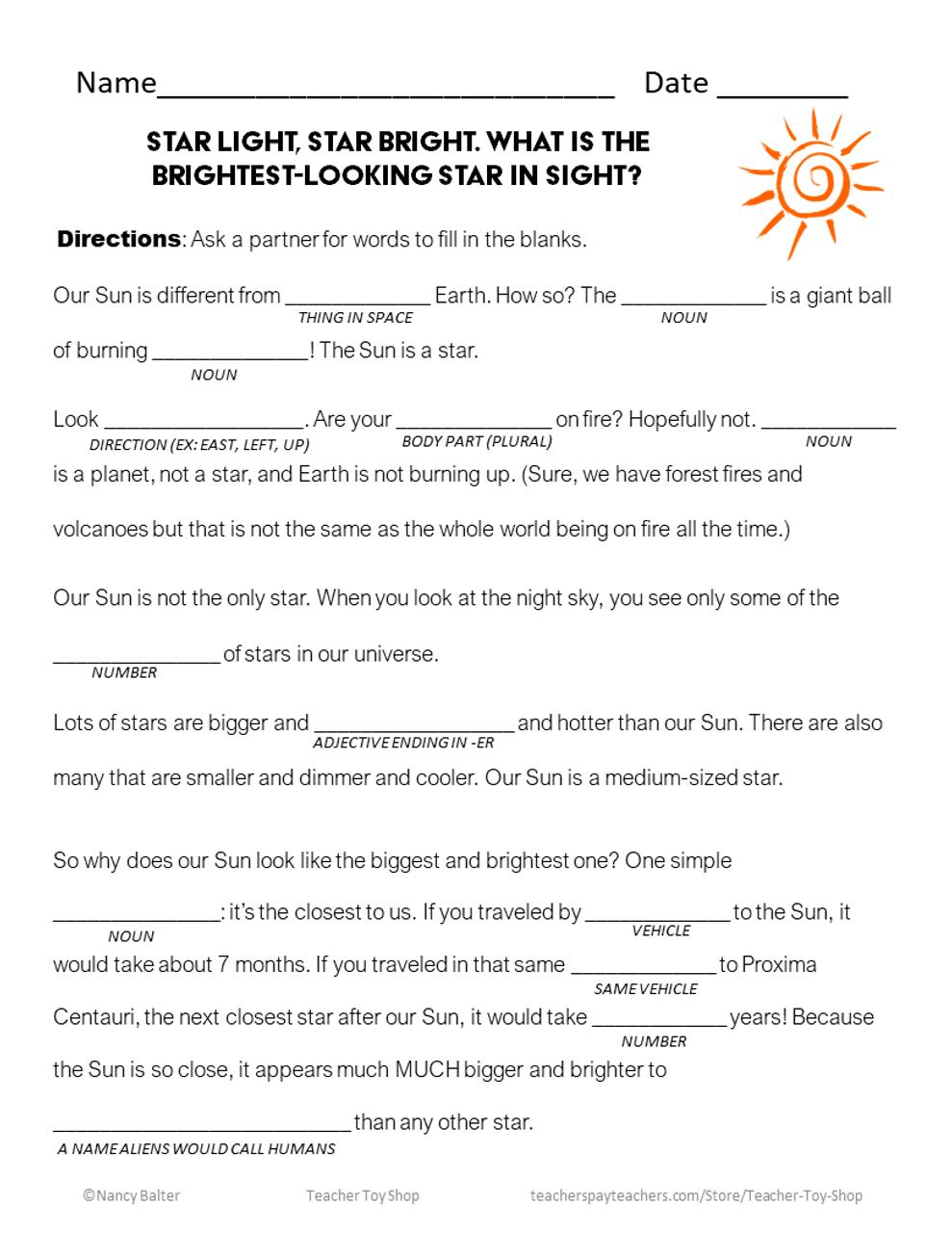 Sun Worksheet - FREE