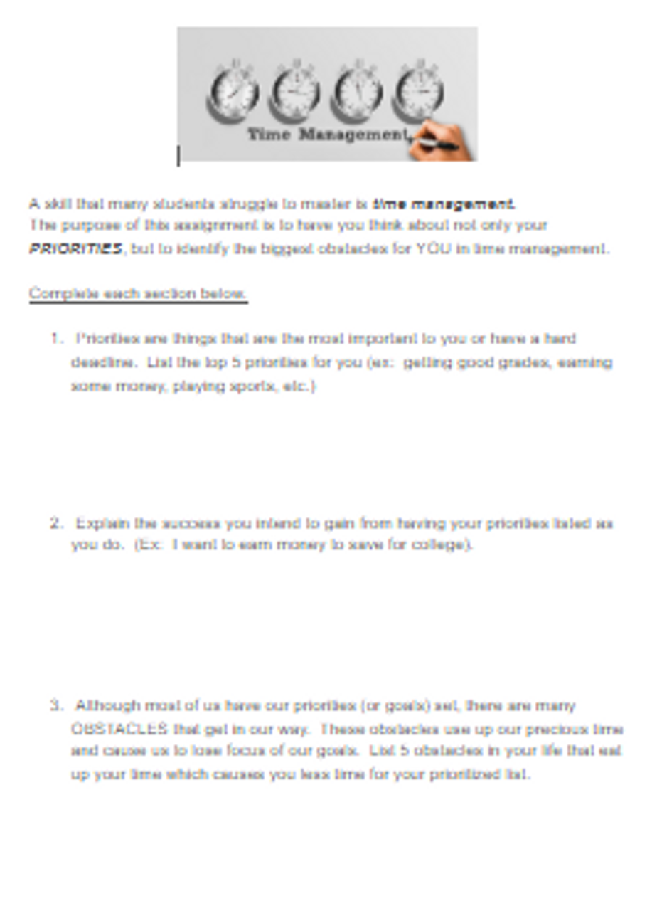 Life Skills - Time Management