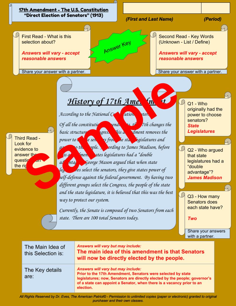 Sample of Answer Key