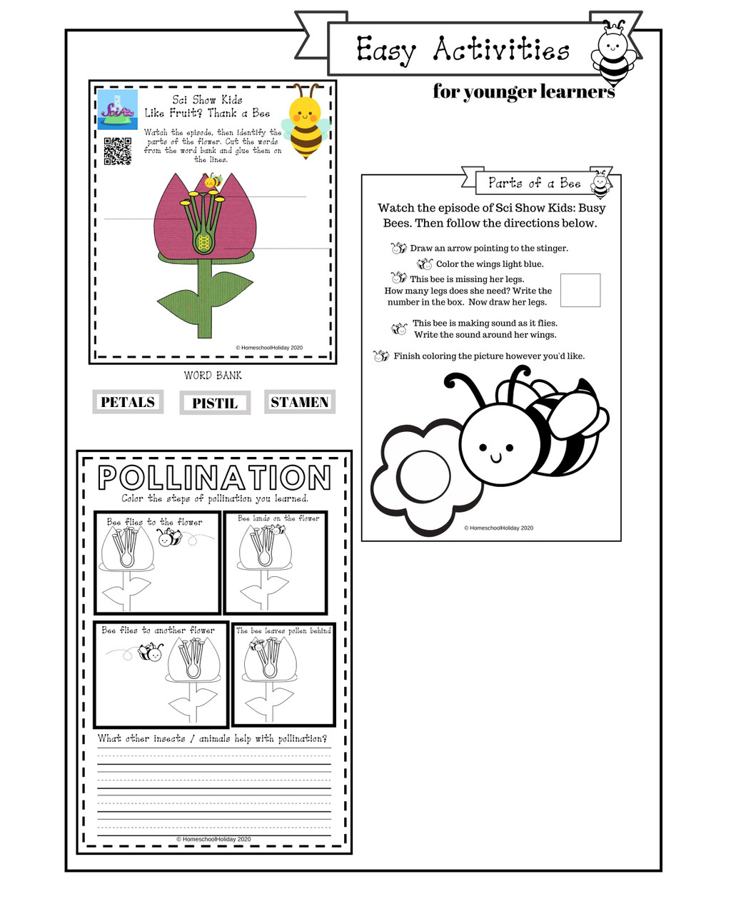 Easy activity pages