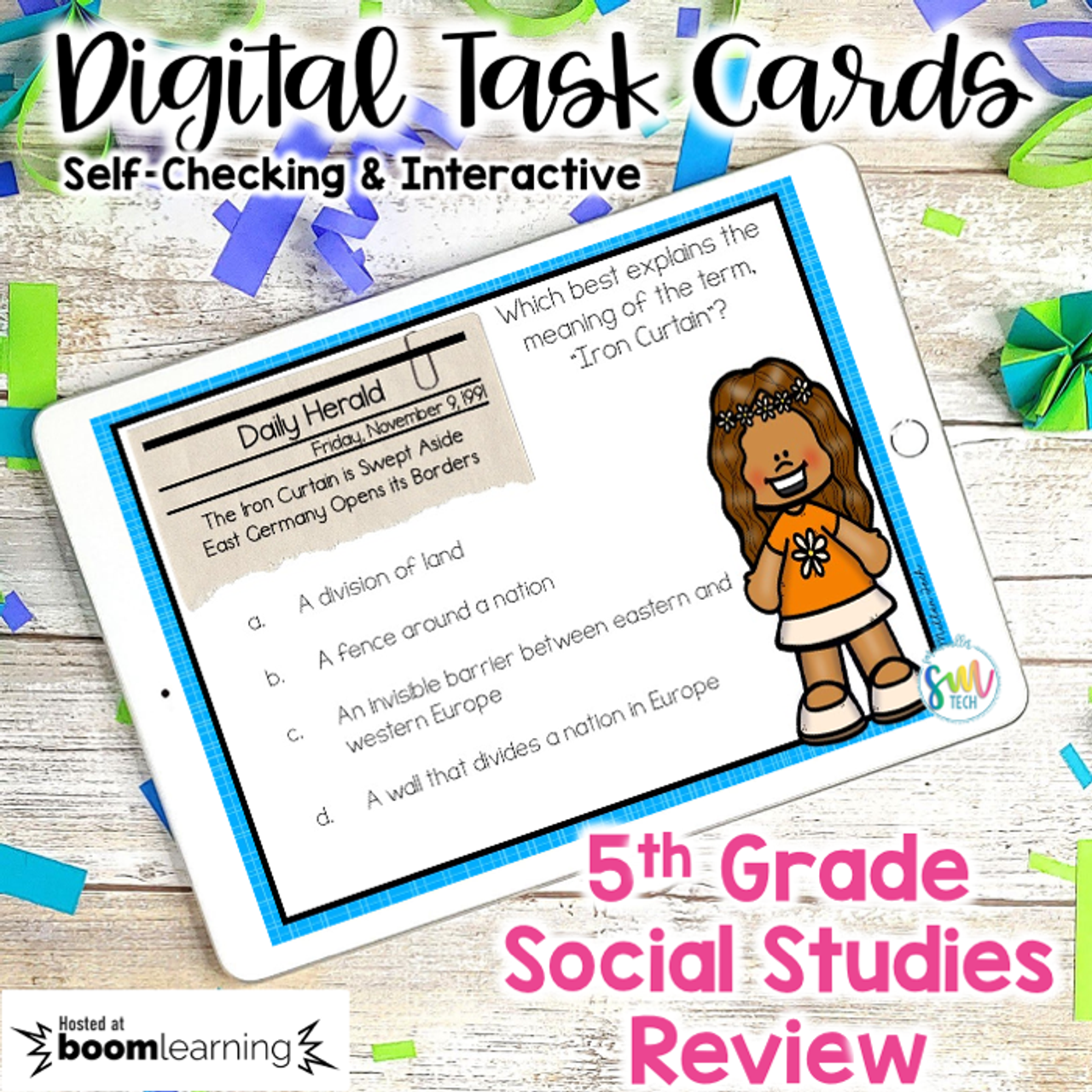 Social Studies Review DIGITAL Task Cards | Boom Cards | Distance Learning