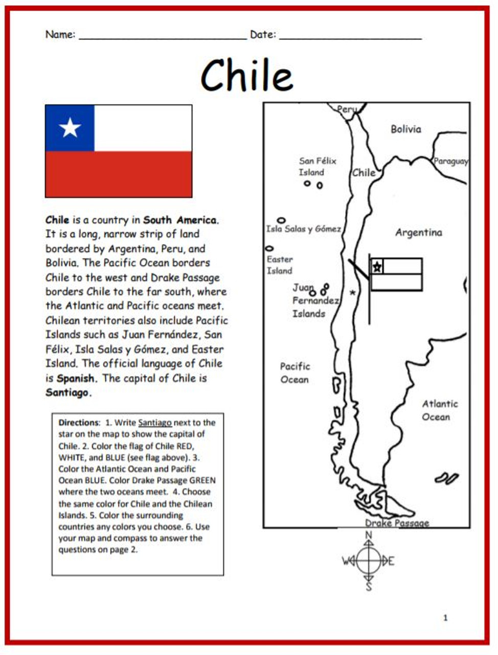 Color and Learn Geography - Chile