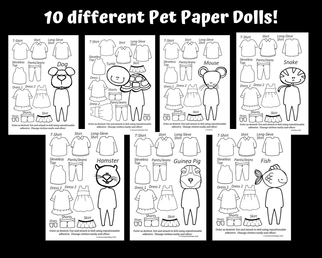 Pet Paper Dolls - Dress Up Your Pet Day