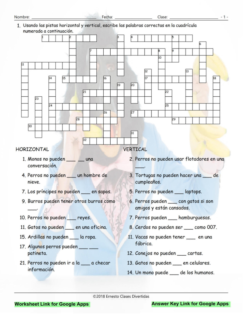 Ability Modals Interactive Spanish Crossword-Google Apps