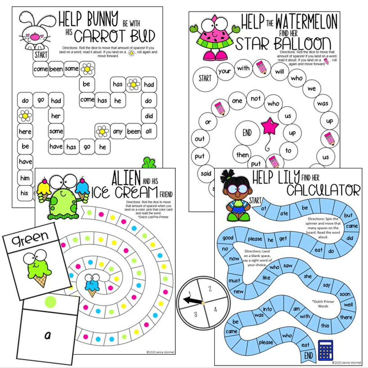 Sight Word Board Games (Fry & Dolch List)