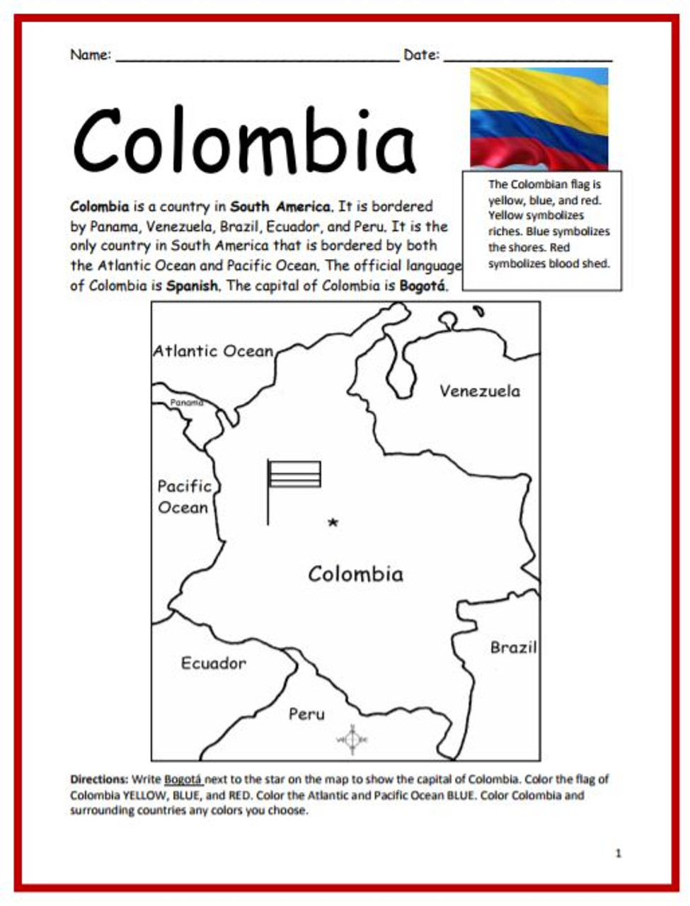 Color and Learn Geography - Colombia (FREE)